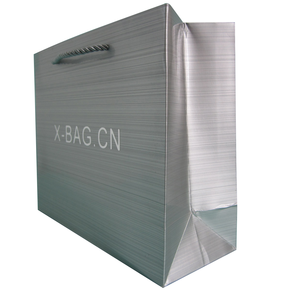 metallic silver paper bag with sticked logo