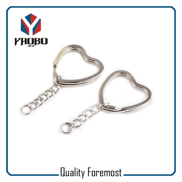 Heart Split Ring With Curb Chain