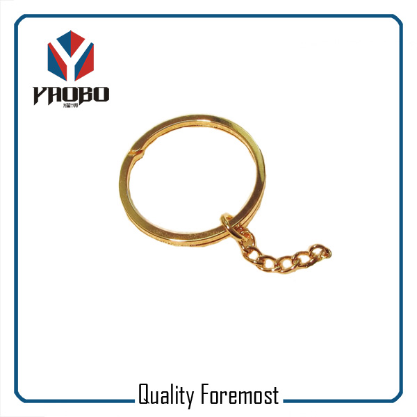 Gold Split Ring With Chain
