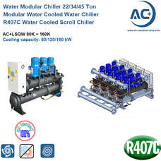 R407C Water Cooled Scroll Chiller 22/34/45 Ton water cooled modular chiller