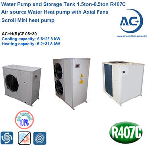 Air source Water Heat pump 1.5ton-8.5ton R407C packaged air source heat pump