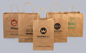 Customized kraft paper carrier bags with twisted handles