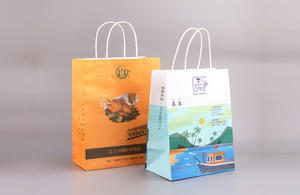 Custom printed recycled kraft paper tote bags with twisted handle
