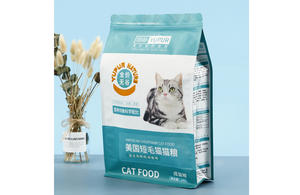 Custom Printed Cat Food Packaging Bags Pouches Flat Bottom With Ziplock