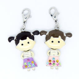 Wholesale metal alloy silver enamel girl charms,cute charms(custom enamel charm)