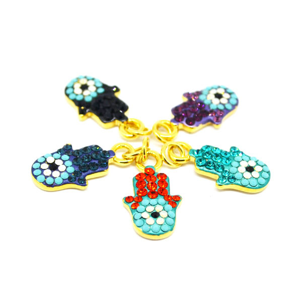 High quality fashion Enamel Hamsa hand charms with crystals (evil eye pendant)