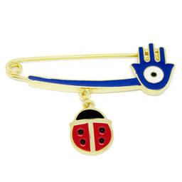 Custom made gold plated hamsa hand pins & Ladybug charms brooch(safety pin brooch)