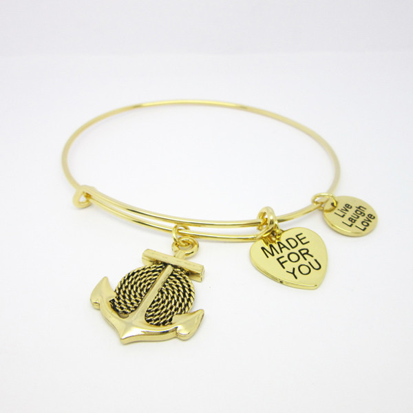 Gold adjustable anchor charms bangles and bracelets manufacturer (bracelet jewelry)