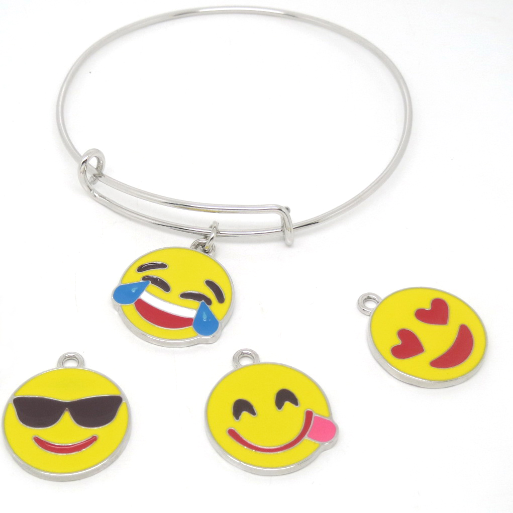 Wholesale silver enamel emoji pendant bangle bracelets factory from China (emoji bracelet)