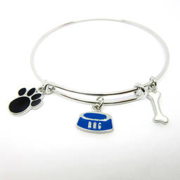 Custom made enamel dog paw charms bangles and customized branges China (bracelet charm)