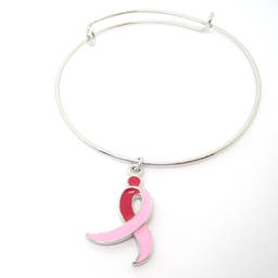 jewelry manufacturer custom silver breast cancer ribbon charms bracelet bangle (enamel bracelet)