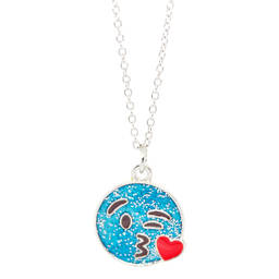 cute silver plated enamel love emoji charms necklaces jewelry  (charm necklace)