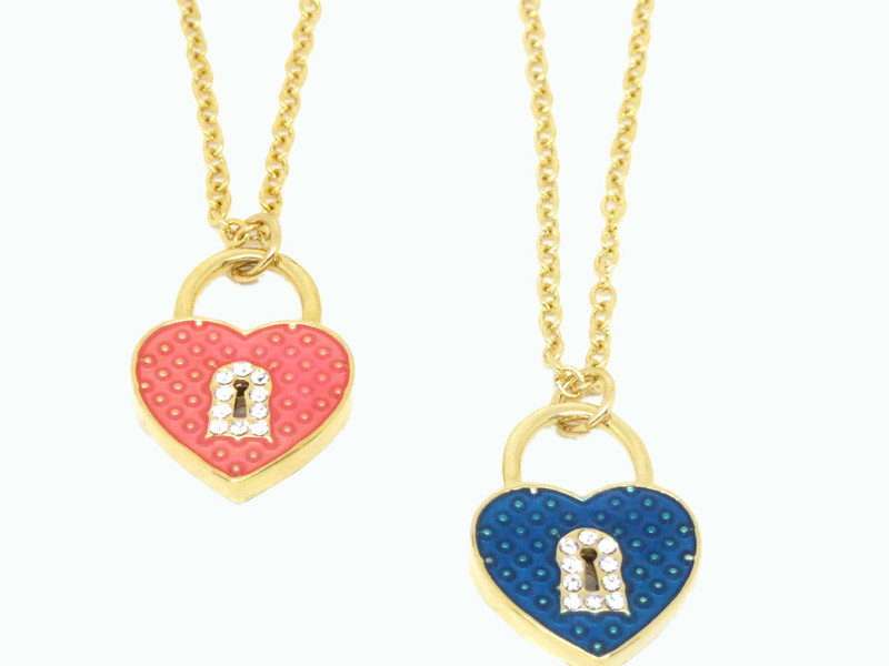Enamel heart with lock charms necklaces jewelry for women (fashion necklace)