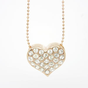 Fashion handmade necklace, crystal hearts charm necklace factory