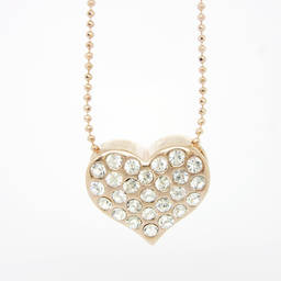 Metal ball chain necklace rhinestones heart necklaces (handmade necklace)