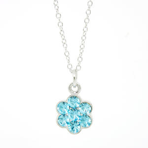 Wholesale necklace jewelry, Blue rhinestones flower pendant necklace suppliers