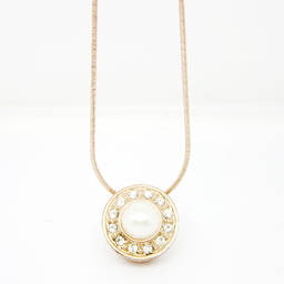 Rose gold metal round plastic pearl necklace fashion jewelry for women (pearl pendant necklace)