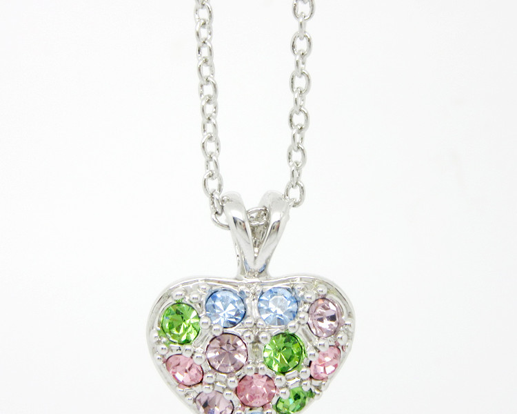 Mini stones heart pendant necklace jewelry for girls (rhinestone necklace)