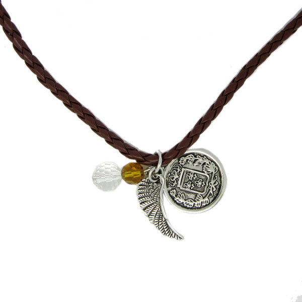Custom beads and round embossed tag charms PU leather necklace (vintage necklace)