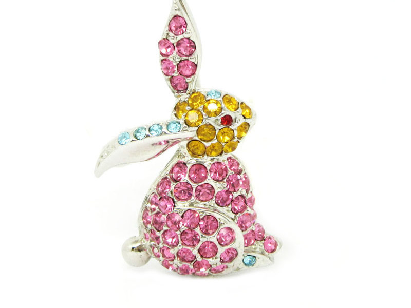 Alloy silver pink crystal bunny brooch jewelry (animal brooch)