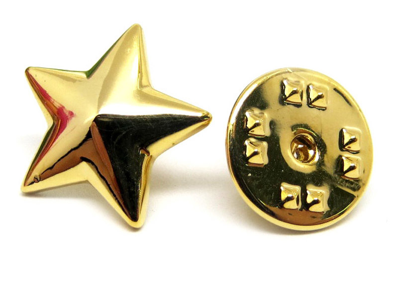 Simple design China wholesale gold star pin badge (cheap brooch)