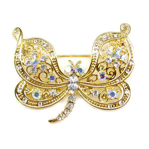 Wholesale metal brooch, Gold plated animal dragonfly brooch suppliers