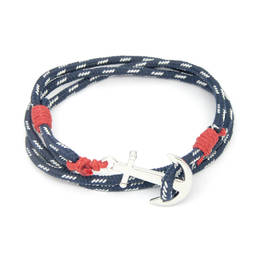 Fashion accessories custom made polyester bracelet with anchor charm (anchor bracelet)