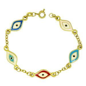 Wholesale evil eye bracelet, Metal gold plated evil eye charms bracelet factory