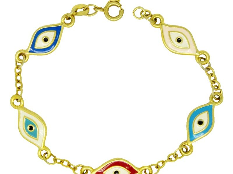 Handcrafted enamel blue evil eye bracelet and lucky eye jewelry (evil eye bracelet)