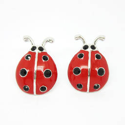 Custom adorable enamel ladybug stud earrings for kids (animal earring)