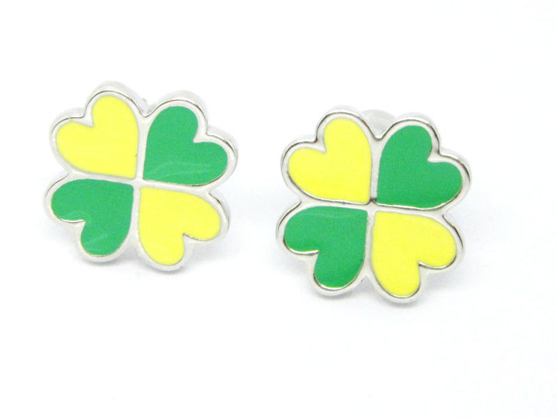 Silver stud Earrings, 4 clover leaf earrings for girls (fashion earrings wholesale)
