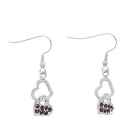 Fashion jewelry manufacturer custom heart hook earrings(crystal earring)