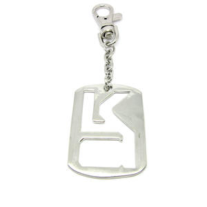 china alloy key chain, Silver plated metal rectangle pendant keychains factory
