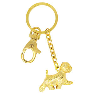 Fashion key chain animals, Gold plated 3D dog charm key chain suppliers