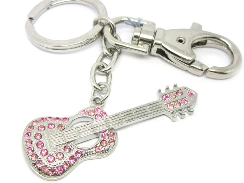 Wholesale pink crystals instrument key chain manufacturer (musical instrument keychain)