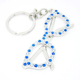 Wholesale Silver plated blue crystal sunglasses key ring (personalized keyring)