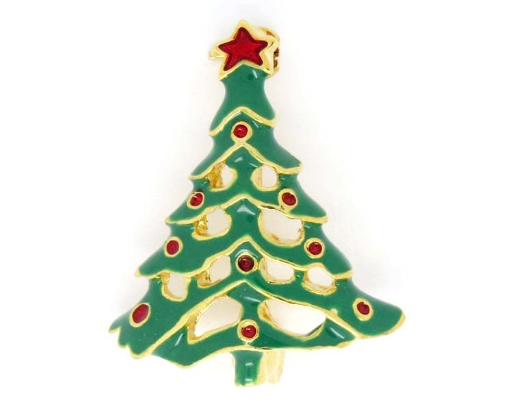 Wholesale metal Christmas Tree Brooch Nice Christmas Gift(christmas brooch)
