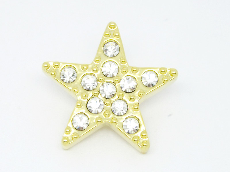 Metal gold plated crystal star brooch (wholesale fashion brooch jewelry)