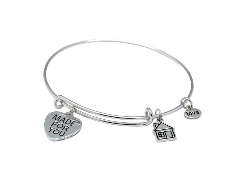Custom silver words engraved charms for wire bangles (custom-made fashion jewelry)