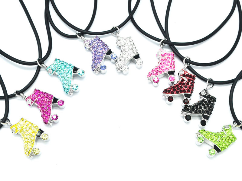 Wholesale custom made Rhinestone Roller Skate pendant necklace jewelry (skate necklace)