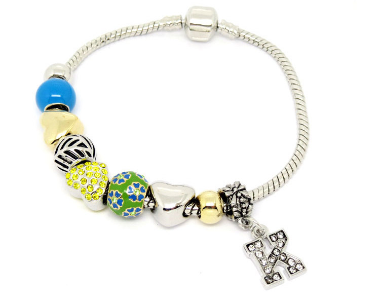 Wholesale Metal enamel Slider Bead charms bracelet jewelry (enamel beaded charm bracelet)