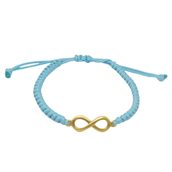 China professional factory made cord braided bracelet with metal charms(infinity bracelet)