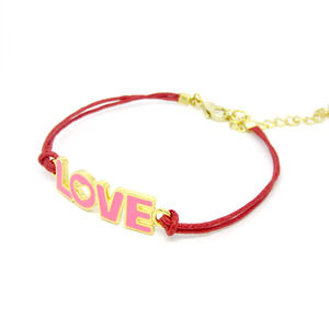 Wholesale rope bracelet, Pink girls lover charms cord bracelet factory