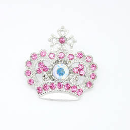 Wholesale custom metal alloy pink rhinestone crown brooch accessories (garment accessory)