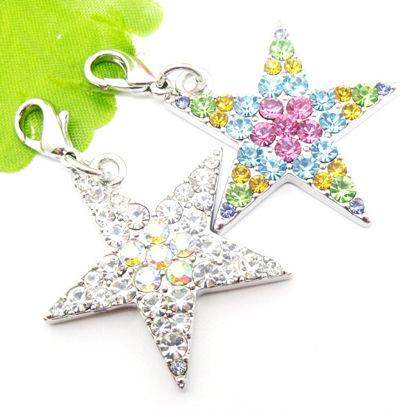 Fancy design paved rhinestone star charms pendant  (custom made jewellery)