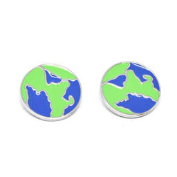 Special custom enamel the globe charm earrings jewelry (fancy earrings)