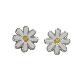 Factory direct sales metal alloy enamel flower charms stud earrings for girls (flower stud earrings)
