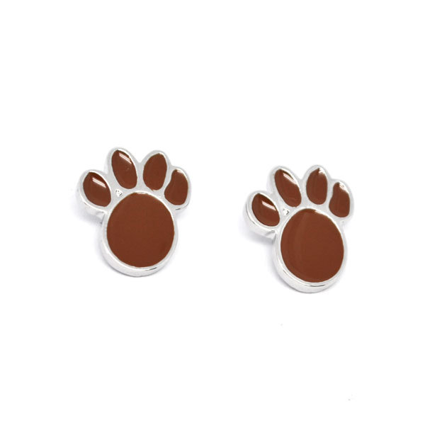 custom handmade enamel dog paw charms earrings post (post earrings)