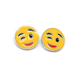 Wholesale alloy jewelry enamel emoji charms stud earrings factory (silver stud earrings)