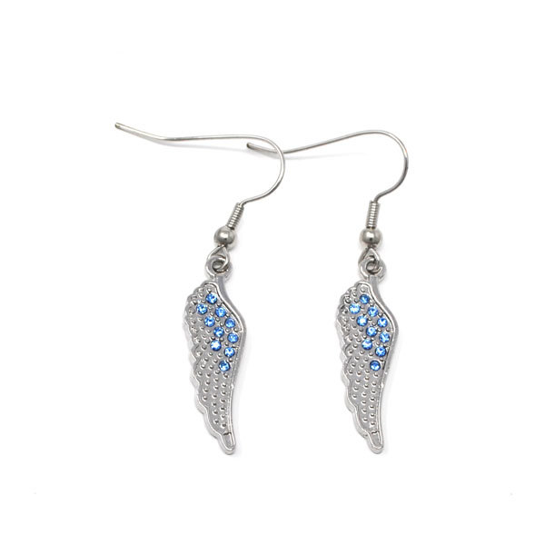 custom made factory sales alloy rhinestone feather wing charms earrings jewelry(feather earrings)